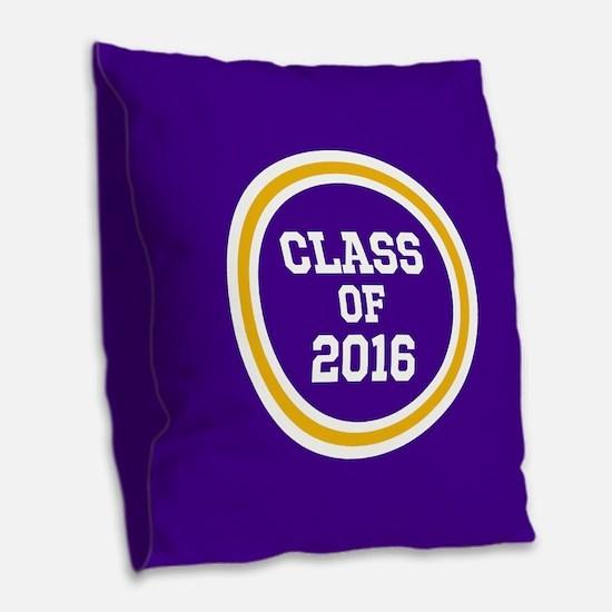 Senior Class 2016 Purple and G Burlap Throw Pillow