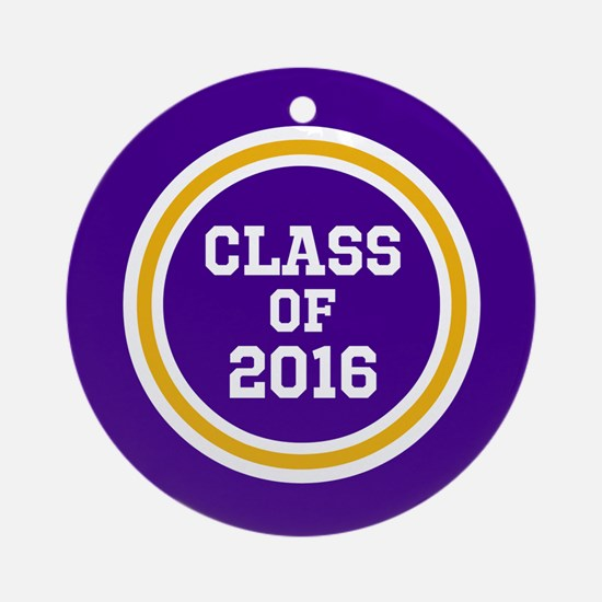 Senior Class 2016 Purple and Gold S Round Ornament
