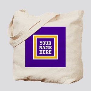 Purple and Gold Personalizable Team Color Tote Bag