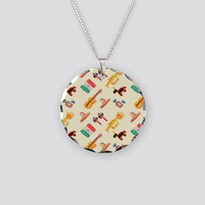 mexican watercolor Necklace Circle Charm