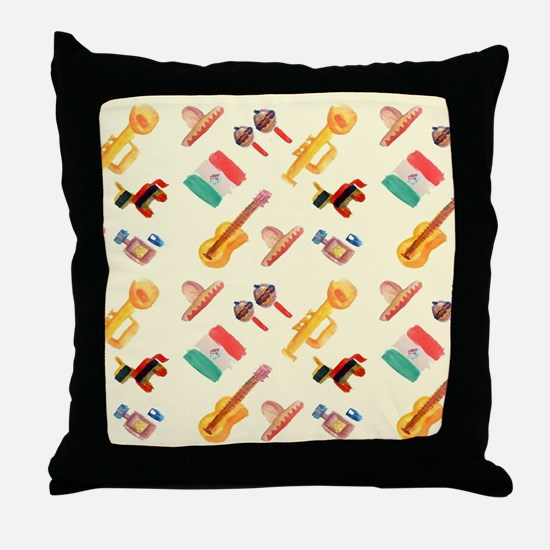 mexican watercolor Throw Pillow
