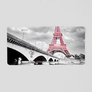 Pink Eiffel Tower Aluminum License Plate