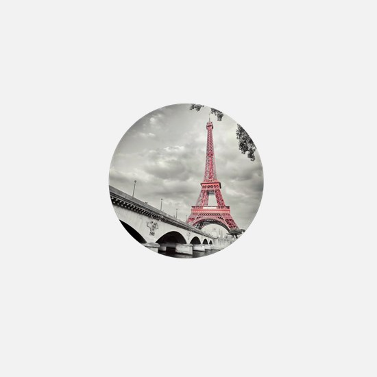 Pink Eiffel Tower Mini Button