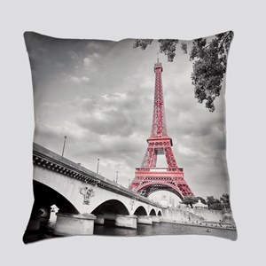 Pink Eiffel Tower Everyday Pillow