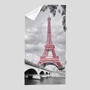 Pink Eiffel Tower Beach Towel