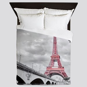 Pink Eiffel Tower Queen Duvet
