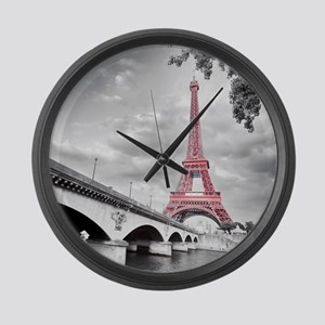 Pink Eiffel Tower Large Wall Clock