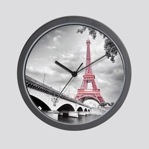 Pink Eiffel Tower Wall Clock