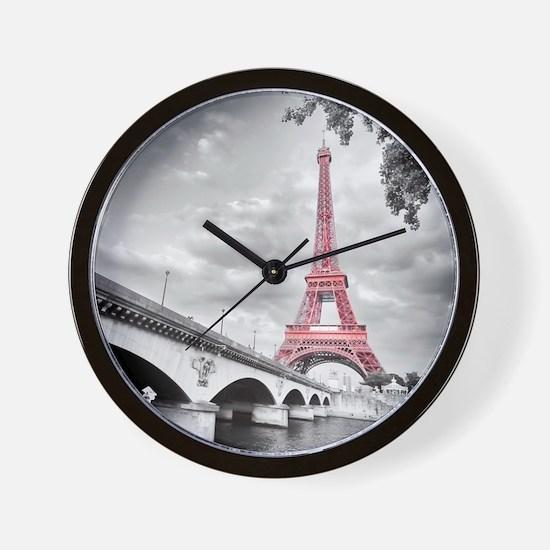 Pink Eiffel Tower Wall Clock