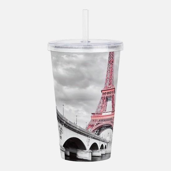 Pink Eiffel Tower Acrylic Double-wall Tumbler