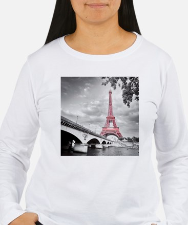 Pink Eiffel Tower Long Sleeve T-Shirt