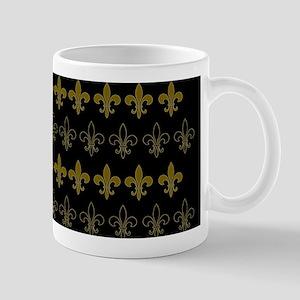 FLEUR DE LIS BLACK AND GOLD BLACKGROUND Mugs