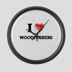 I love Woodpeckers Large Wall Clock