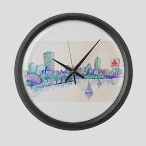 Boston Skyline Large Wall Clock
