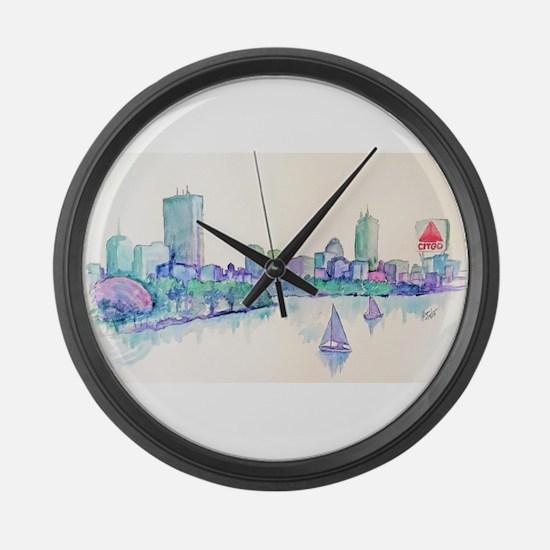 Boston Skyline Large Wall Clock