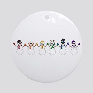 Rainbow Snowpeople Round Ornament