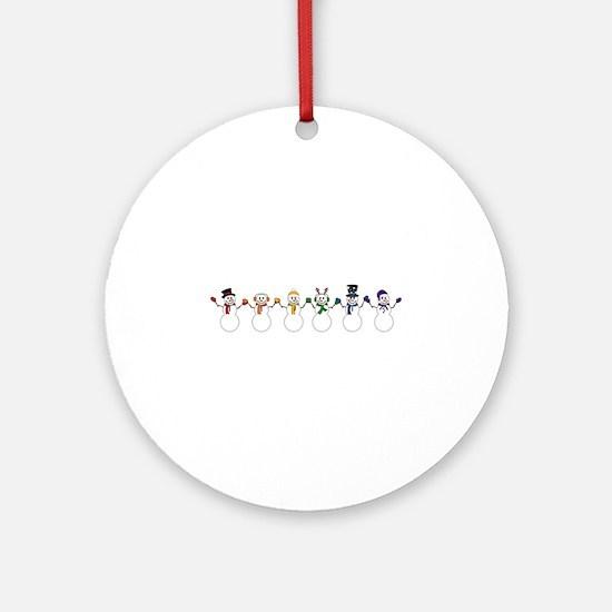 Rainbow Snowpeople Round Ornament