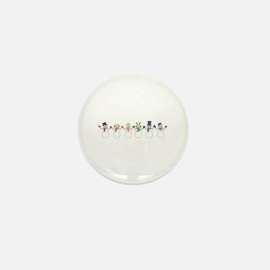 Rainbow Snowpeople Mini Button