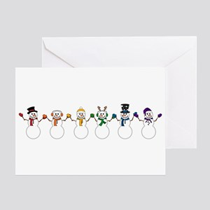Rainbow Snowpeople Greeting Cards