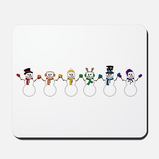 Rainbow Snowpeople Mousepad