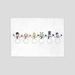 Rainbow Snowpeople 5'x7'Area Rug