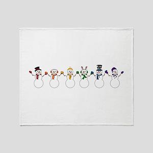 Rainbow Snowpeople Throw Blanket