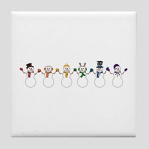 Rainbow Snowpeople Tile Coaster