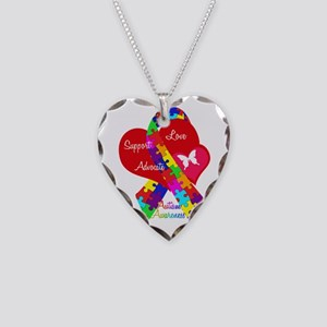 Autism Ribbon Necklace Heart Charm