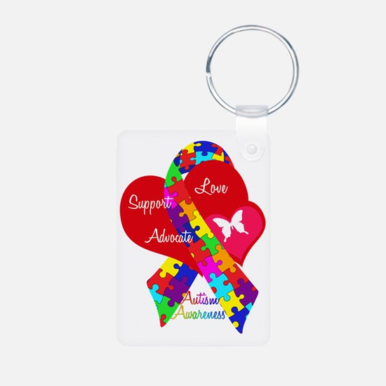 Autism Ribbon Aluminum Photo Keychain