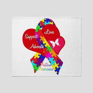 Autism Ribbon Throw Blanket
