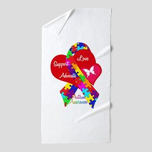 Autism Ribbon Beach Towel