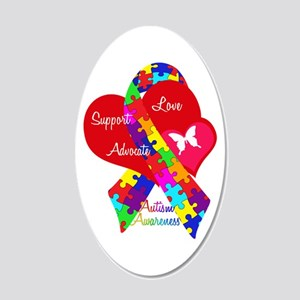Autism Ribbon 20x12 Oval Wall Decal
