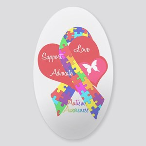 Autism Ribbon Sticker (Oval)