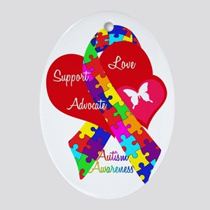Autism Ribbon Oval Ornament