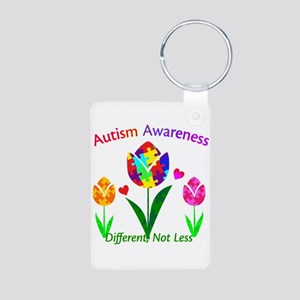 Autism Awareness Tulip Aluminum Photo Keychain