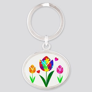 Autism Awareness Tulip Oval Keychain
