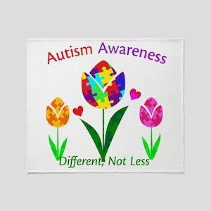 Autism Awareness Tulip Throw Blanket