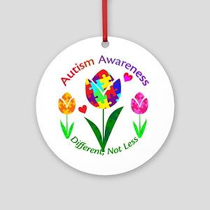 Autism Awareness Tulip Round Ornament