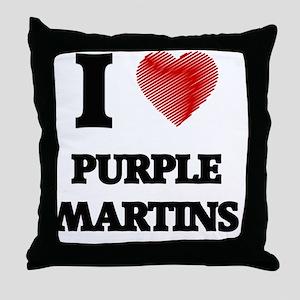 I love Purple Martins Throw Pillow