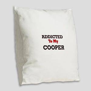 Addicted to my Cooper Burlap Throw Pillow