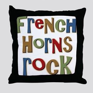 French Horns Rock Lover Player Throw Pillow