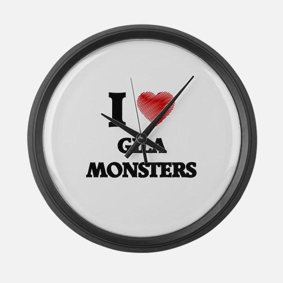 I love Gila Monsters Large Wall Clock