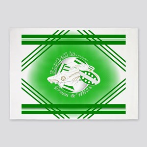 Green and White Football Soccer 5'x7'Area Rug