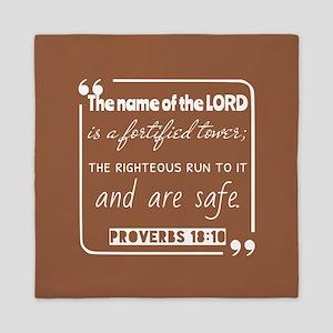 Proverbs 18:10 Inspirational Reading Queen Duvet
