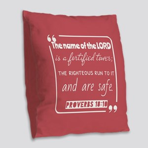 Proverbs 18:10 Popular Bible V Burlap Throw Pillow