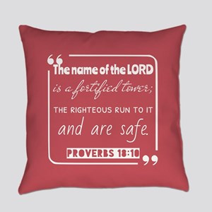Proverbs 18:10 Popular Bible Verse Everyday Pillow