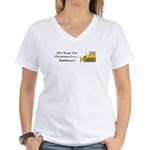 Christmas Bulldozer Women's V-Neck T-Shirt