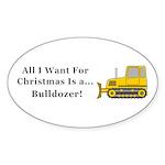 Christmas Bulldozer Sticker (Oval 10 pk)