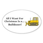 Christmas Bulldozer Sticker (Oval 50 pk)