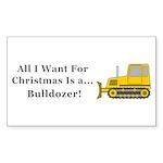 Christmas Bulldozer Sticker (Rectangle 10 pk)